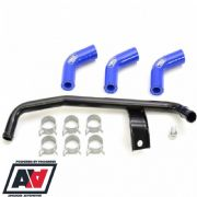 Subaru Impreza Modine Oil Cooler Cross Over Pipe & Samco Water Hose Kit In Blue